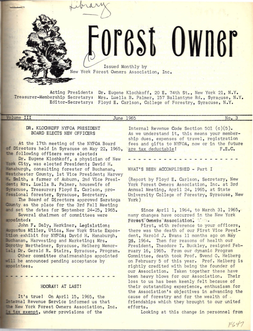 New York Forest Owners Association Volume III Number 3 June 1965